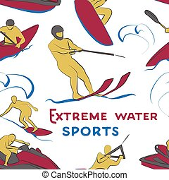 Extreme water sports pattern. Vector illustration, EPS 10