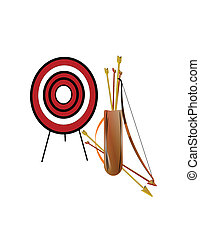 archery set on white - quiver of arrows and longbow on white...