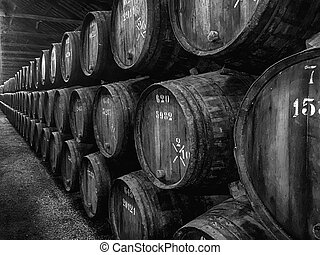 Barrels of Port In Winery - Hundreds of barrels, or pipes,...