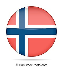 button with flag of Norway - button with national flag of...