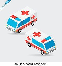 isometric space - ambulance with siren, side views