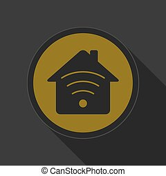 dark gray and yellow icon - house with signal