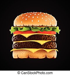 Realistic double hamburger with cheese.