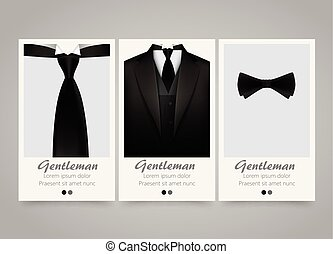 Modern colorful vertical official clothing banners. Wedding ceremony invitation.