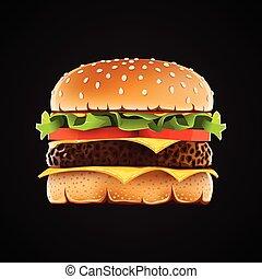 Realistic hamburger with cheese salad and tomato.