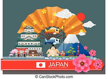 japan infographic travel place and landmark Vector...