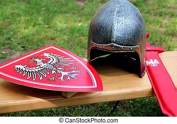 Helmet, shield and sword knight - Childrens helmet, shield...