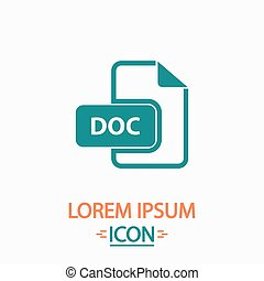 DOC computer symbol - DOC Flat icon on white background...