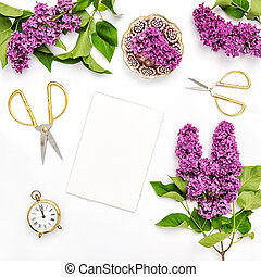 Sketchbook, lilac flowers, office tools golden accessories -...