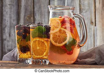 hölzern, sommer, Getränk, hintergrund, Fruechte