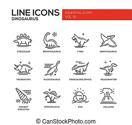 Dinosaurs species- line design icons set - Set of modern...