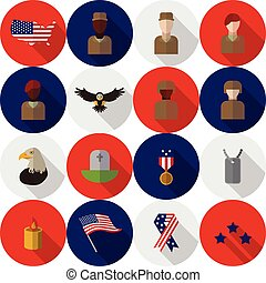 Veterans day america Usa icons and ojects - Set of various...