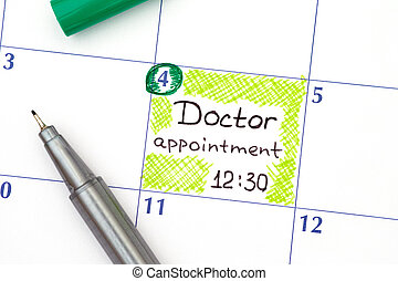 Reminder Doctor appointment in calendar