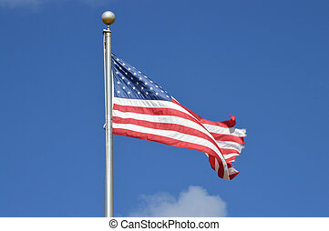 American Flag Blue Sky cloud
