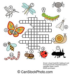Crossword educational children game with answer Insects...