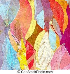 Abstract background autumn leaves - Watercolor bright...