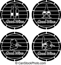 vector  icons of wooden casks with wine bottles, glasses and grape clusters