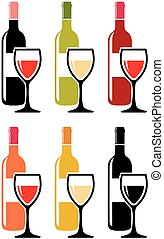 vector set of colorful icons of red wine bottles with wine glasses