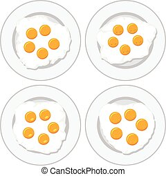 vector set of delicious fried eggs on plates for breakfast