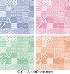 vector patchwork handicraft fabric background - vector...