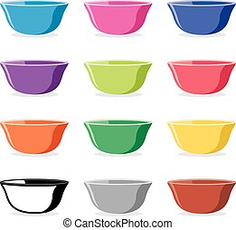 vector set of colorful ceramic bowls