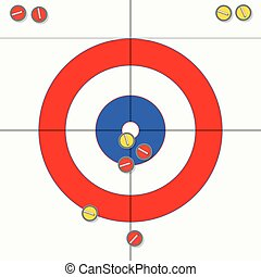 vector sport illustration of curling stones on ice