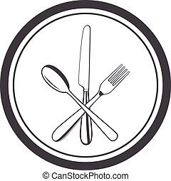 vector icon of plate with fork, knife and spoon