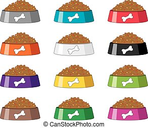 vector set of colorful plastic dog bowls with dog food