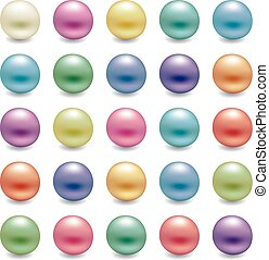 vector set of shiny pearls