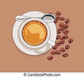 vector cup of coffee and scattered coffee beans