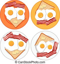vector set of plates with fried eggs, bacon, bread and butter
