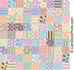 vector patchwork handicraft fabric background