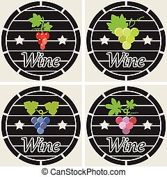 vector icons of wooden casks with wine grape clusters