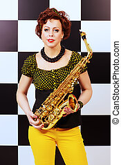 retro musician - Beautiful saxophone player in retro style....