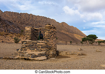 water well, Sahara desert - water well in Sahara desert...