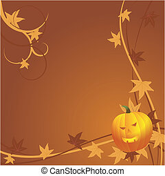 Halloween background with pumpkin and autumn leaves