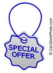 Special offer tag. 3D rendering.
