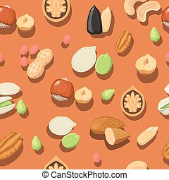 Vector seamless pattern nuts hazelnut, almonds, peanuts,...