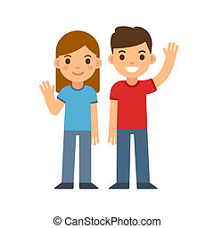 Cartoon boy and girl - Cute cartoon children smiling and...