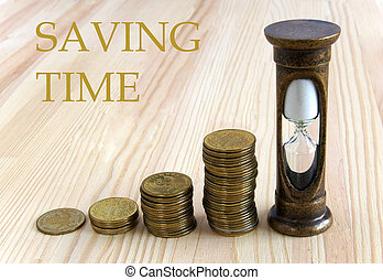 Saving Time and time is money concept