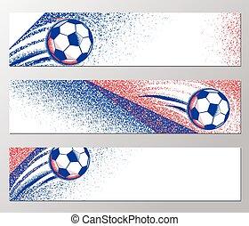 Football championship 2016 horizontal banner with ball,...