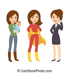 Super woman illustration - Super woman concept. Mom with...