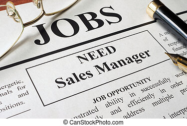 vacancy sales manager - Newspaper with ads for vacancy sales...