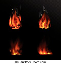 Set of vector realistic fire Flame illustrations