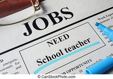vacancy School teacher - Newspaper with ads for vacancy...