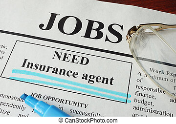 vacancy Insurance agent - Newspaper with ads for vacancy...