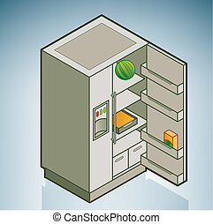 Fridge part of the Kitchen Utensils Isometric 3D Icons Set