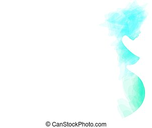 Beautiful nude pregnant woman silhouette, abstract turquoise...