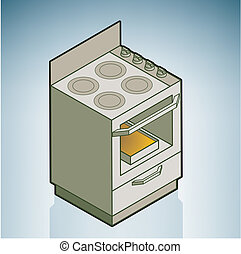 Gas stove - Gas Stove part of the Kitchen Utensils Isometric...
