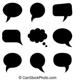 Black speech bubbles collection